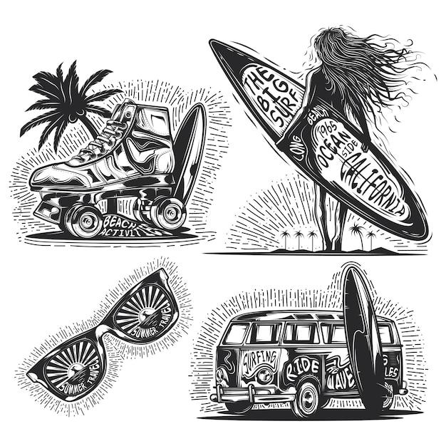 Набор летних элементов (девушка с доской, солнцезащитные очки, автомобиль и т. д.), эмблем, этикеток, значков, логотипов. Бесплатные векторы