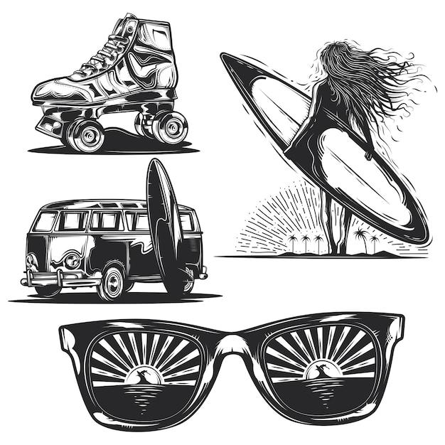 夏の要素のセット(ボード、サングラス、車などを持つ女の子) 無料ベクター
