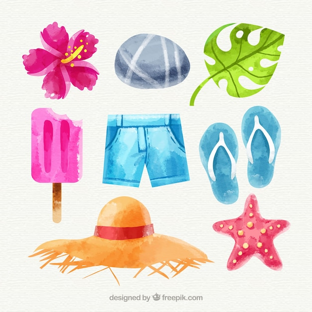 Set of summer elements in watercolor\ style