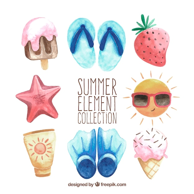 Set of summer elements in watercolor style Free Vector