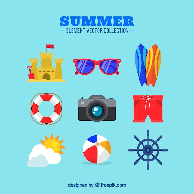 Set of summer elements with clothes in flat style Free Vector