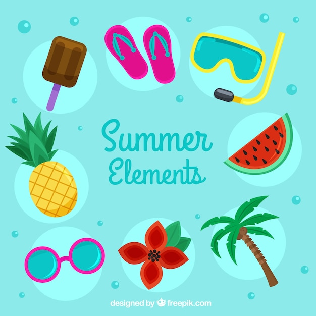 Set of summer elements with food and clothes in\ flat style