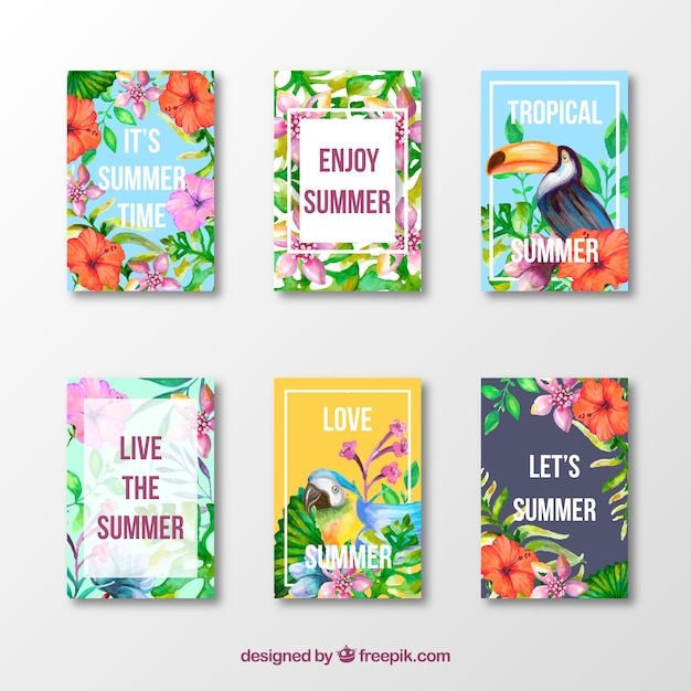 Set of summer exotic cards with positive\ messages