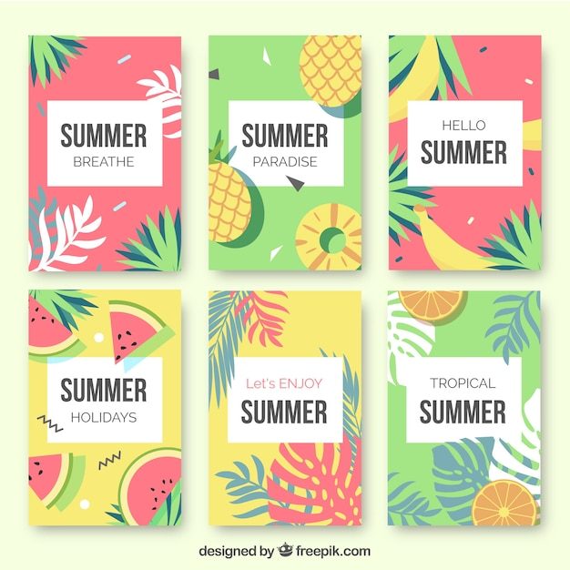 Ai] set of summer cards with accessories vector free download pikoff.