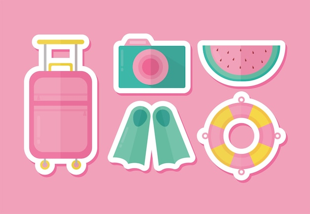 핑크 일러스트 디자인에 여름 아이콘 세트 프리미엄 벡터