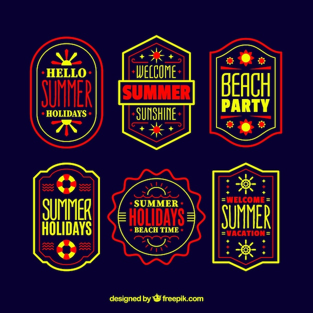 Set of summer labels with beach elements in hand drawn style Free Vector