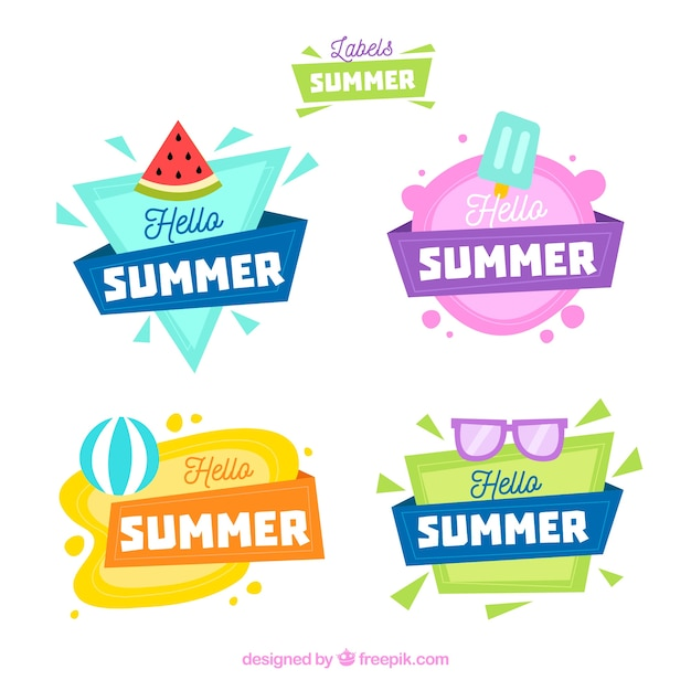 Set of summer labels with beach elements Free Vector