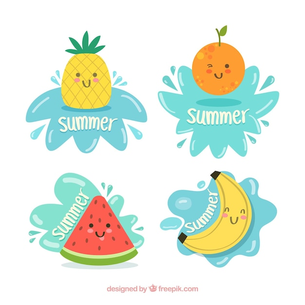 Set of summer labels with cute fruits Free Vector