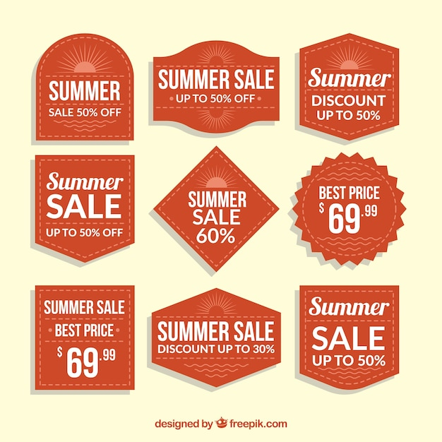 Set of summer sale badges  Free Vector