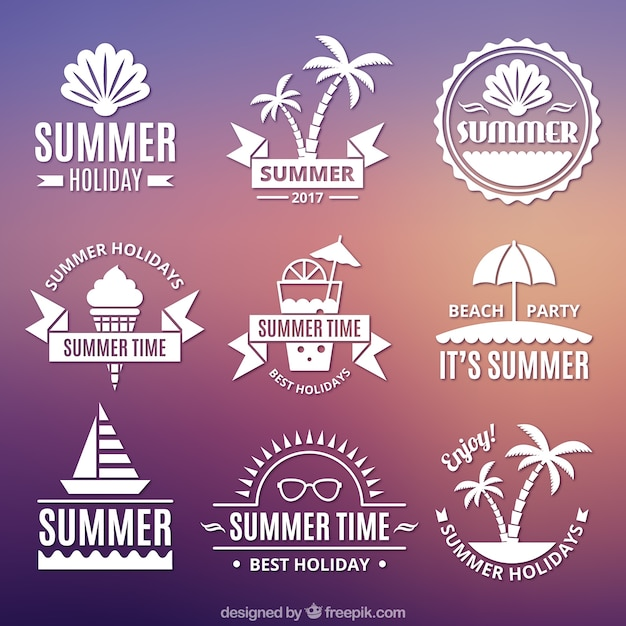 Set of summer stickers in vintage style