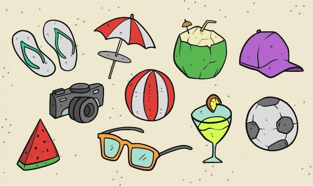 Набор летних вещей премиум иллюстрации Premium векторы