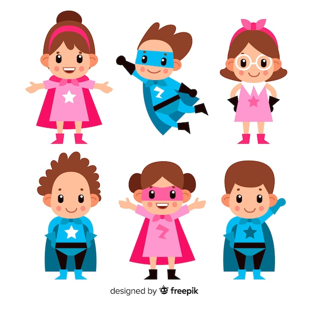 Set of superhero kids Free Vector