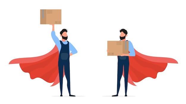 スーパーヒーローローダーのセット。オーバーオールのローダーは箱を持っています。箱を手にした男。白い背景で隔離。 。 Premiumベクター