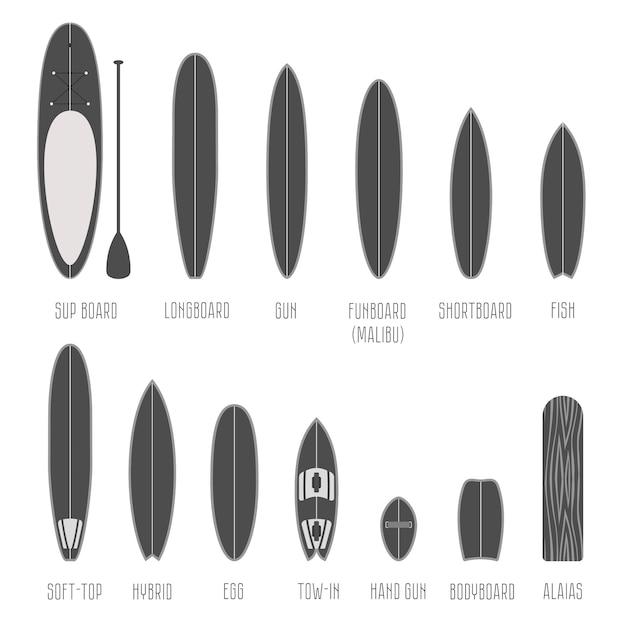 서핑 보드 유형, 규모의 볼륨 모양 세트. 다른 실루엣 절연 인포 그래픽 프리미엄 벡터