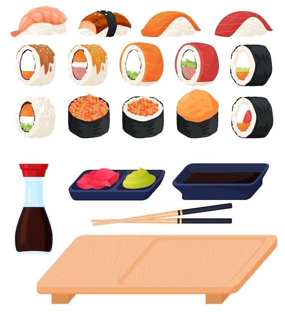 さまざまな種類の寿司と刺身、ソース、わさび、寿司スティックのセット。フラットな漫画スタイルのカラフルなイラスト。 Premiumベクター
