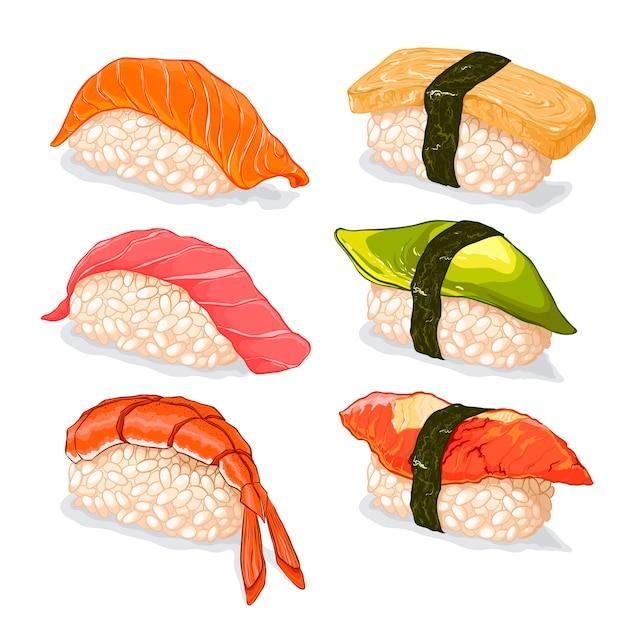 寿司イラストセット Premiumベクター