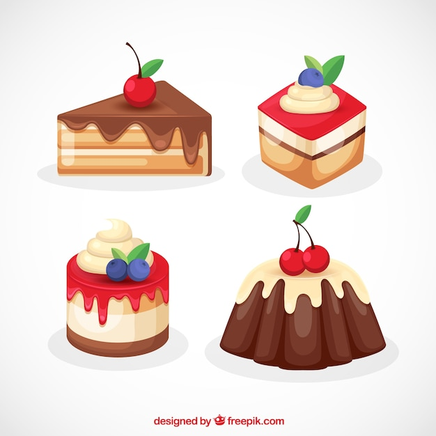 Set of sweet desserts with cream and\ berries