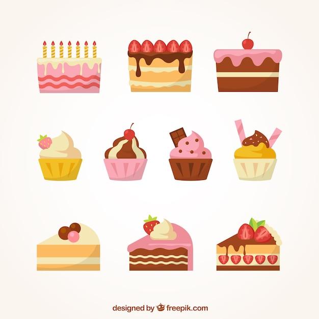 Набор сладких десертов со сливками и ягодами Premium векторы