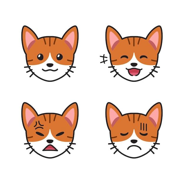 Набор мордочек полосатого кота, показывающих разные эмоции Premium векторы