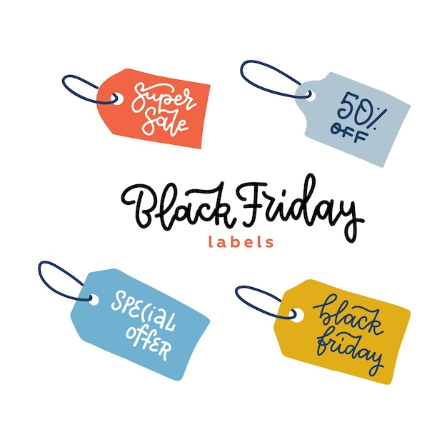 Набор тегов для баннеров продажи черная пятница. этикетка для продвижения. на белом фоне. рисованной иллюстрации с линейными буквами. Premium векторы