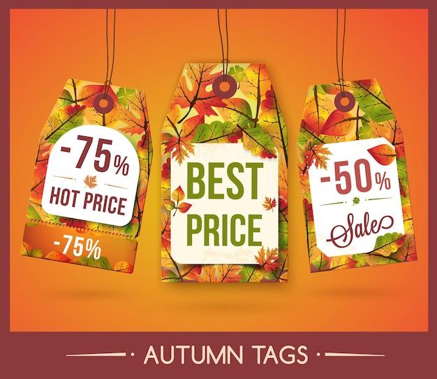 Набор тегов с осенними листьями для скидки и продажи Premium векторы