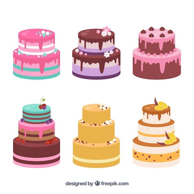 Set Of Tasty Birthday Cakes Free Vector