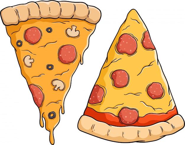 Набор вкусной пиццы с ломтиком пепперони Premium векторы