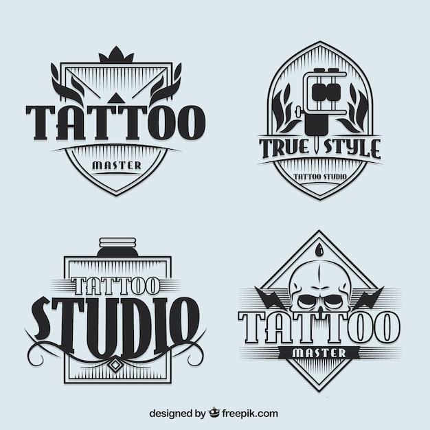 مجموعه ای از تاتو لوگوتایپ استودیو در سبک قدیمی
