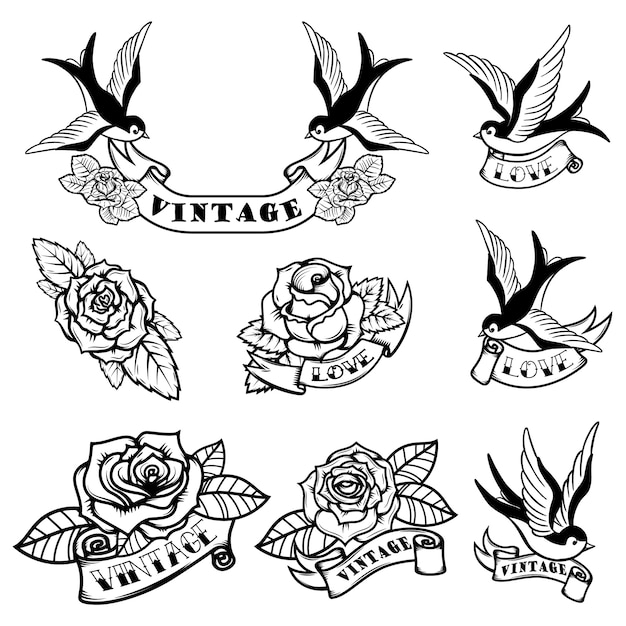 제비와 장미 문신 템플릿 집합입니다. 구식 문신. 삽화 프리미엄 벡터