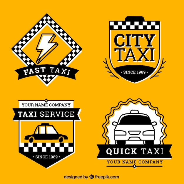 Set of taxi badges