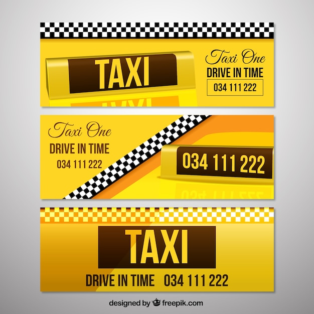 Set of taxi banners