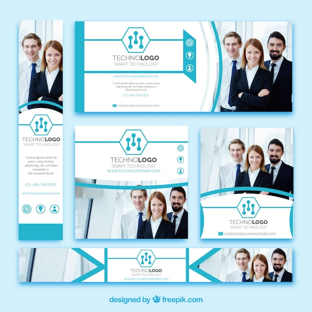 Set of technology company banners