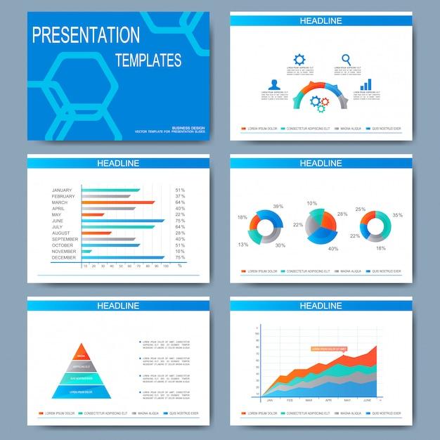 프레젠테이션 슬라이드 용 템플릿 세트. 그래프와 차트가있는 현대적인 비즈니스 디자인 프리미엄 벡터