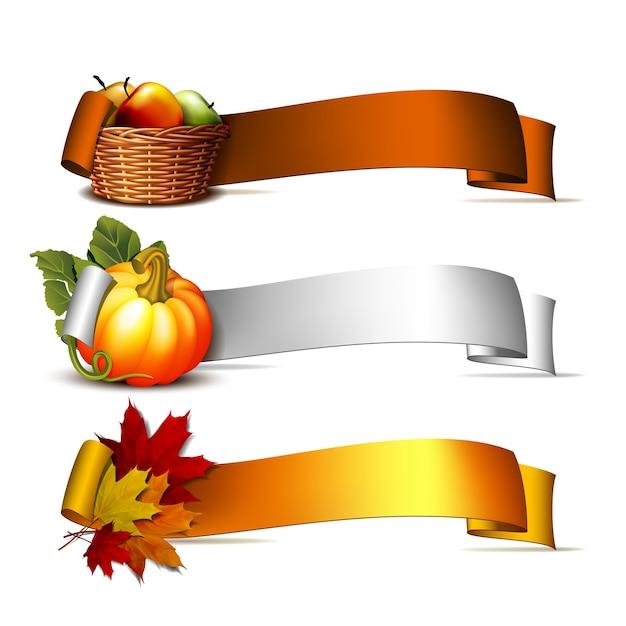 Набор баннеров благодарения, ленты с оранжевыми тыквами, осенними листьями и корзиной полных спелых яблок. плакат или брошюра на день благодарения. иллюстрация. Premium векторы