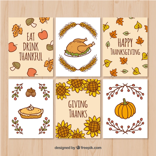 set of thanksgiving cards with drawings free vector - Free Thanksgiving Cards