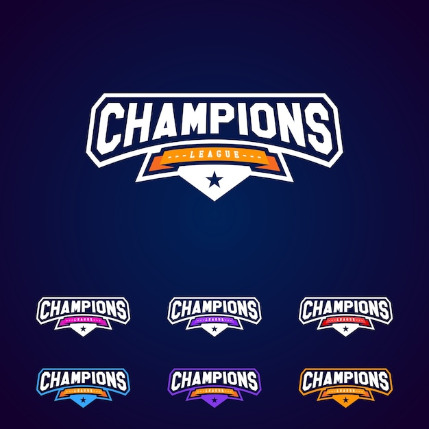 Set of the champion sports league logo emblem badge graphic with set of the champion sports league logo emblem badge graphic with star premium vector altavistaventures Image collections