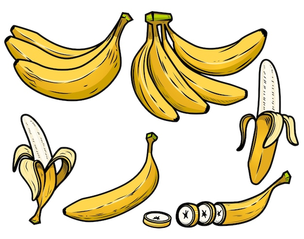 新鮮なバナナのアイコンのセットです。 Premiumベクター