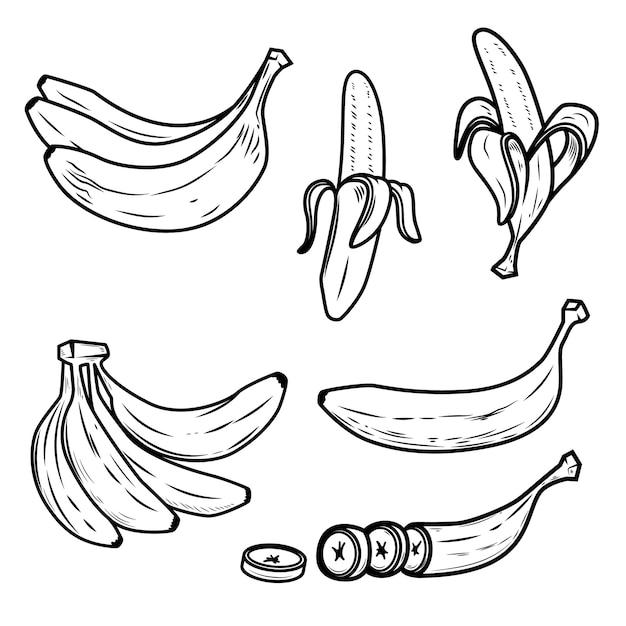 Набор иконок свежий банан Premium векторы