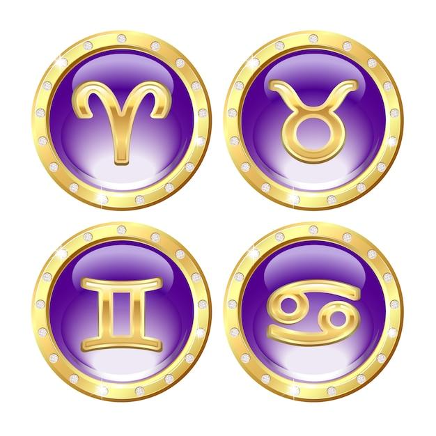 Набор золотых знаков зодиака Premium векторы