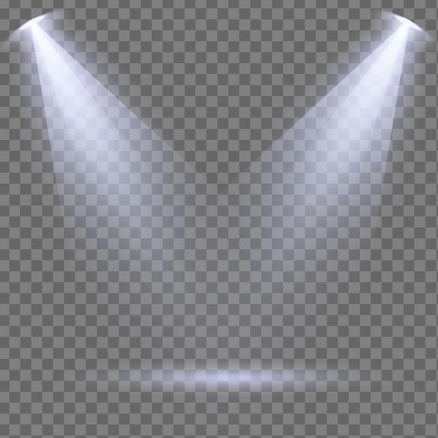 무대, 장면, 연단에 빛나는 흰색 스포트라이트 세트 프리미엄 벡터