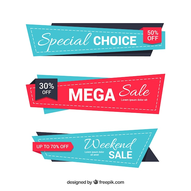 Set of three abstract retro banners for sale Free Vector
