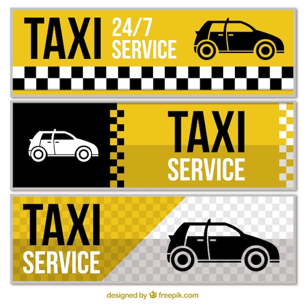 Set of three abstract taxi banners