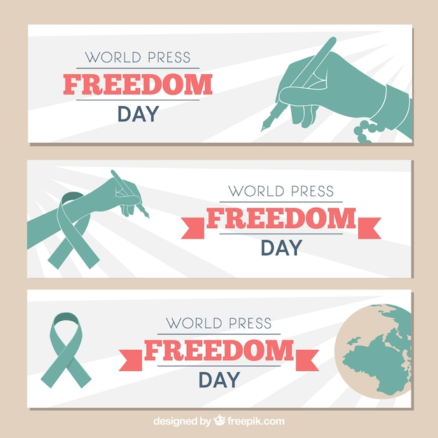 Set of three banners for world press freedom day