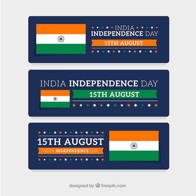 مجموعه ای از آگهی ها سه پرچم هند برای روز استقلال