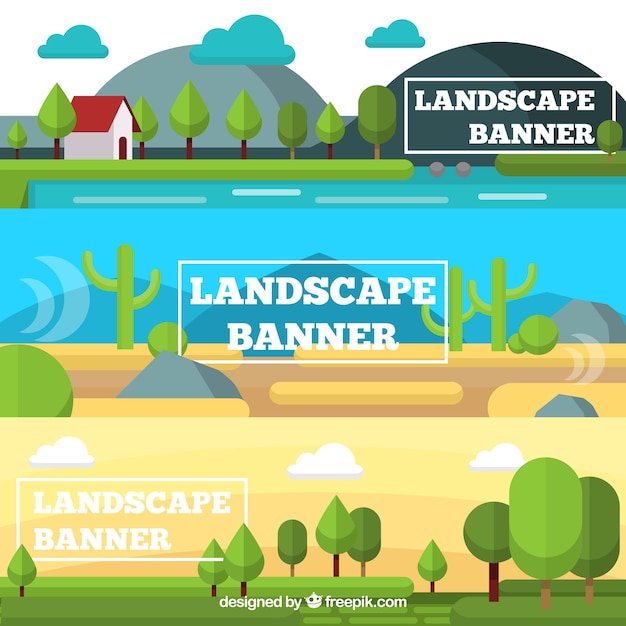 Set of three banners of natural landscapes in\ flat design