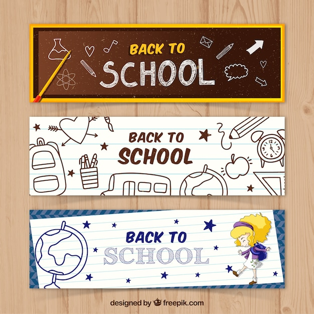 مجموعه سه آگهی ها با نقاشی های مدرسه