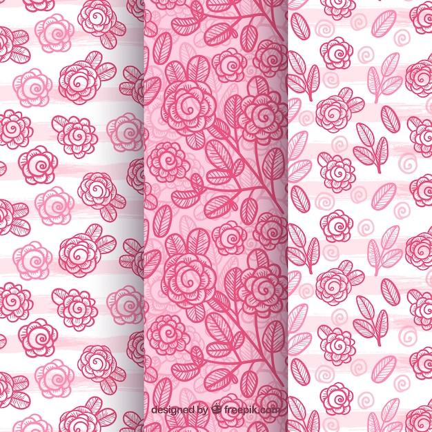 Set of three beautiful rose patterns