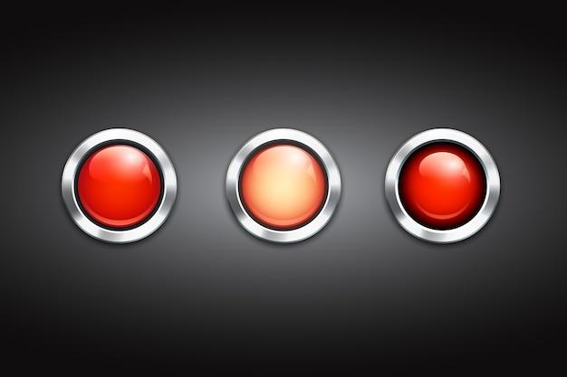 光沢のある金属の縁と反射を備えた3つの空白の赤いボタンのセット 無料ベクター