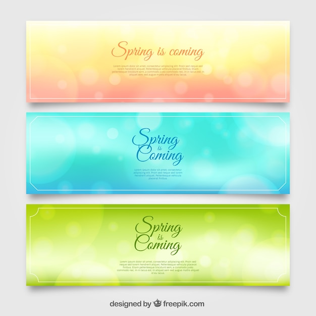 Set of three blurred banners with bokeh effect\ for spring