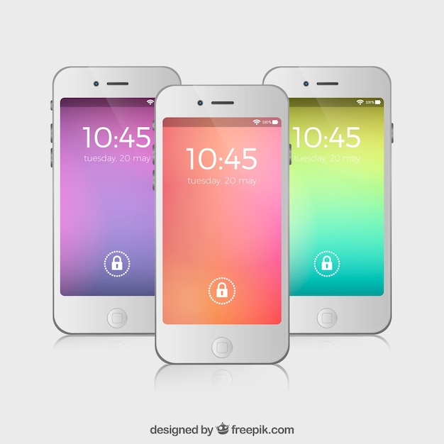 Set of three blurred colors wallpapers for mobile